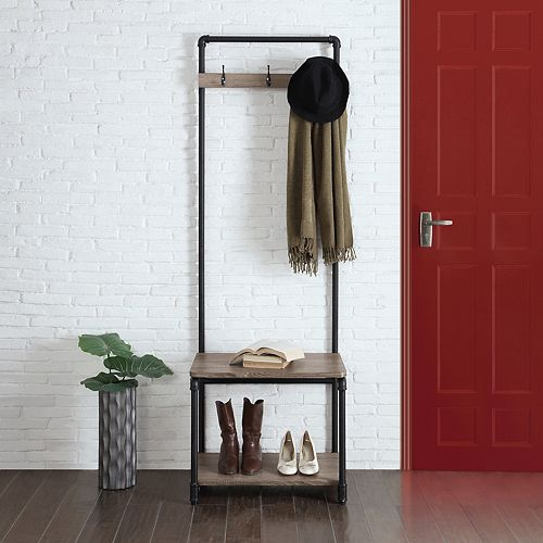 Neu Home Rustic Pipe Entryway Shoe & Coat Rack
