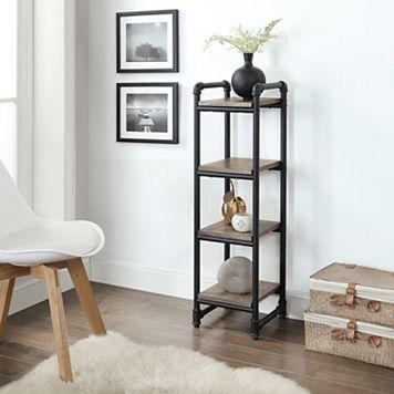 Neu Home Rustic Pipe 4-Tier Shelf Organizer