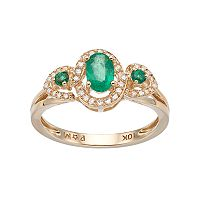 10k Gold Emerald & 1/6 Carat T.W. Diamond 3-Stone Halo Ring
