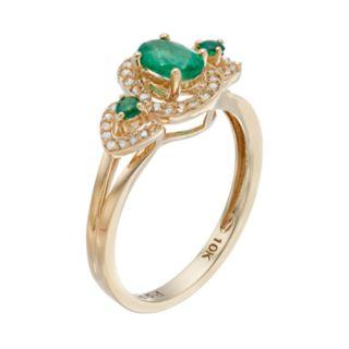 10k Gold Emerald & 1/6 Carat T.W. Diamond 3-Stone Halo Ring