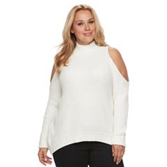 Plus Size Jennifer Lopez Cold-Shoulder Mockneck Sweater