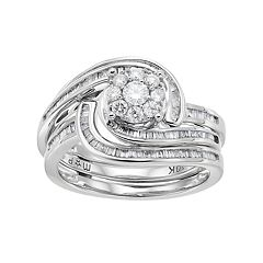10k White Gold 3/4 Carat T.W. Diamond Swirl Engagement Ring Set
