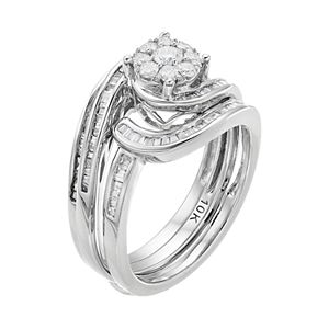 10k White Gold 3/4 Carat T.W. Diamond Swirl Engagement Ring Set