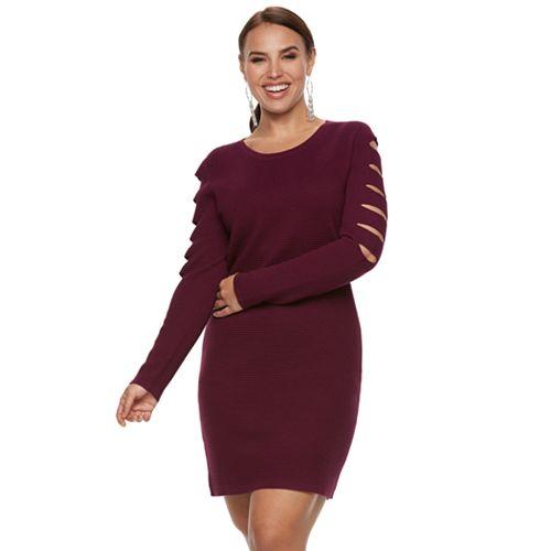 Plus Size Jennifer Lopez Slashed Sleeve Sweater Dress
