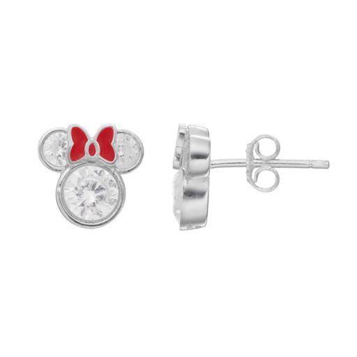 Disney's Minnie Mouse  Kids' Cubic Zirconia Stud Earrings
