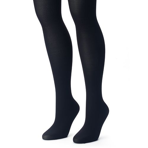 Women's Apt. 9® 2-pk. Ribbed & Solid Tights