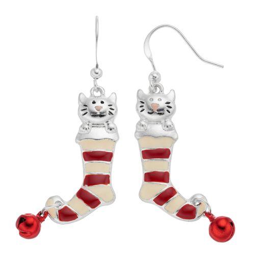 Cat Striped Stockings Nickel Free Drop Earrings