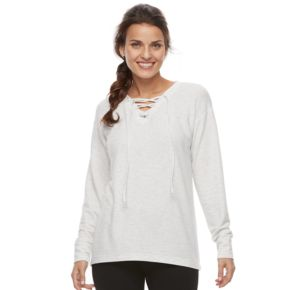 Petite Tek Gear® Lace-Up Long Sleeve Top