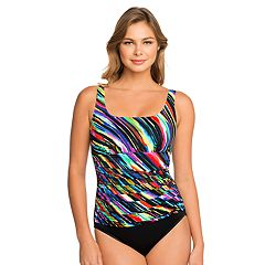 Women's Croft & Barrow® Waist Minimizer Striped One-Piece Swimsuit