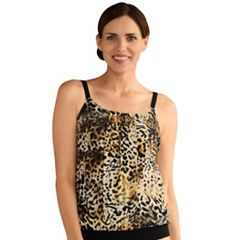 Women's Amoena Nauru Pleated Leopard Print Tankini Top