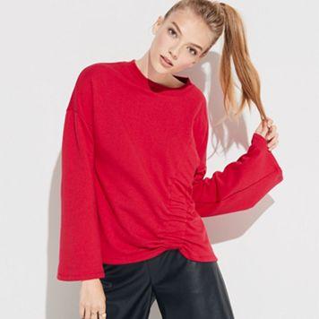 k/lab Asymmetrical Gathered Sweatshirt