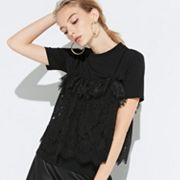 k/lab Ruffled Lace Tee