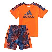 Toddler Boy adidas Aplified New Graphic Tee & Printed Shorts Set