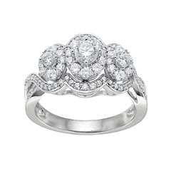 571bf6e6f 10k White Gold 1 Carat T.W. Diamond 3-Stone Halo Engagement Ring