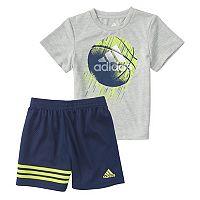 Toddler Boy adidas Defender Basketball Graphic Tee & Shorts Set