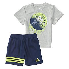 Toddler Boy adidas Defender Basketball Graphic Tee & Shorts Set