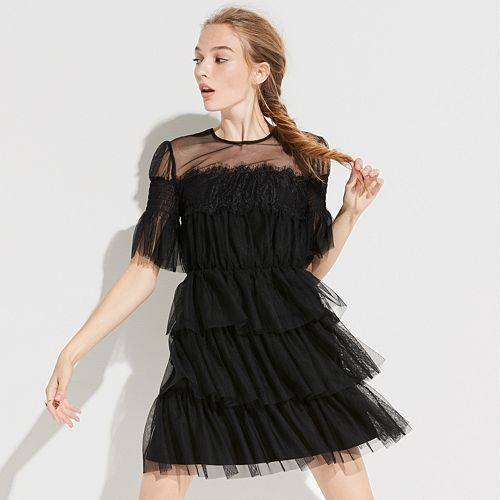 k/lab Tiered Tulle & Lace Dress