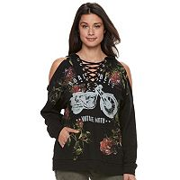 Women's Rock & Republic® Lace-Up Cold-Shoulder Graphic Hoodie