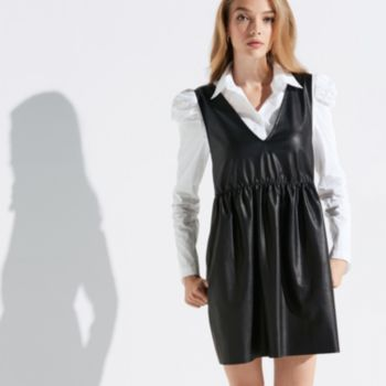 k/lab Faux-Leather Pinafore Dress