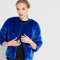 k/lab Cropped Faux-Fur Jacket