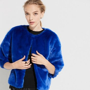 k/lab Cropped Faux-Fur Jacket