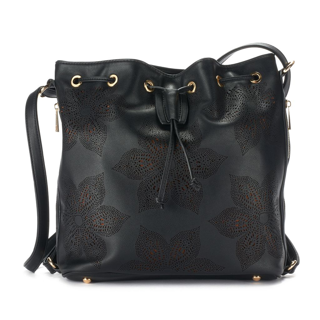 Mellow World Adrian Perforated Floral Convertible Bucket Bag