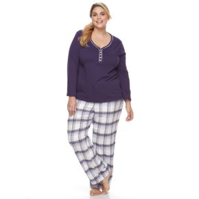 Women's Croft & Barrow® Pajamas: Henley & Flannel Pants PJ Set