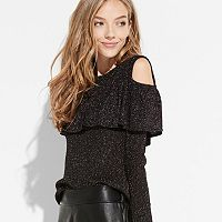k/lab Sparkly Cold-Shoulder Sweater