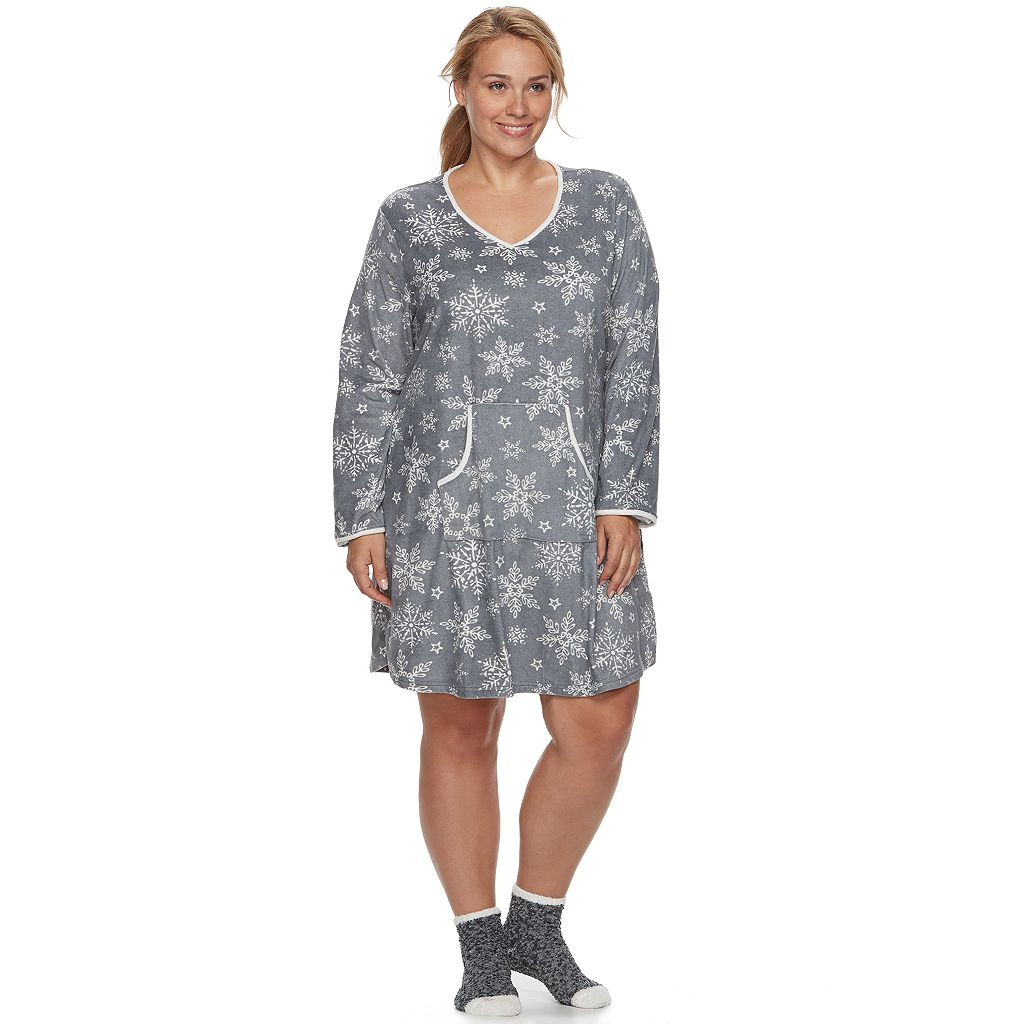 Plus Size Croft & Barrow® Pajamas: Velour Sleep Shirt & Socks PJ Set