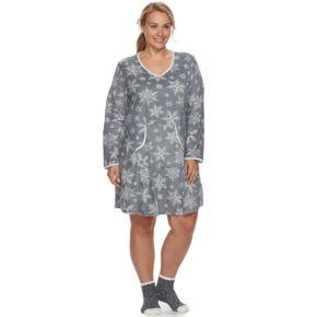 Plus Size Croft & Barrow® Pajamas: Velour Sleep Shirt & Socks PJ Set