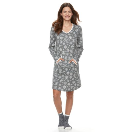 Women's Croft & Barrow® Pajamas: Knit Sleep Shirt & Socks PJ Set