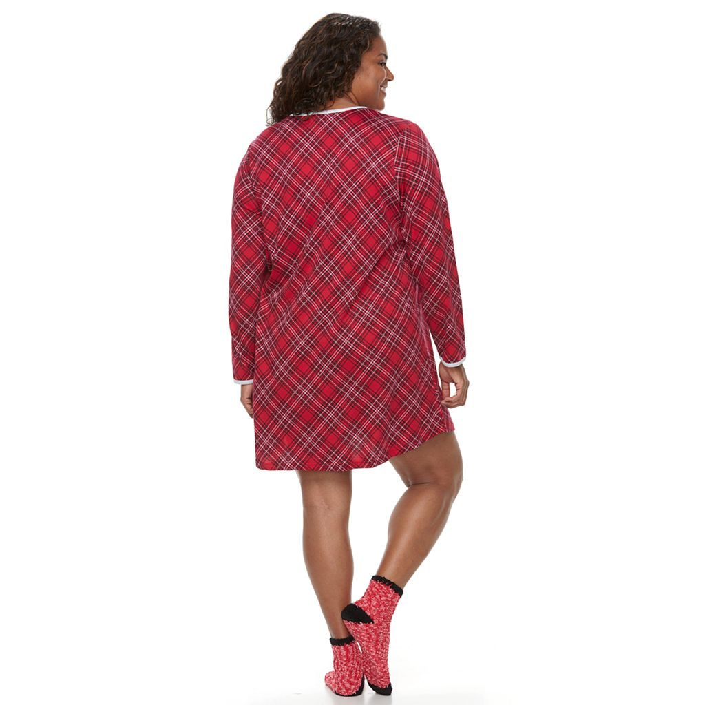 Plus Size Croft & Barrow® Pajamas: Knit Sleep Shirt & Socks PJ Set