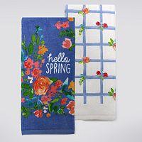 Celebrate Spring Together Happy Spring Floral Kitchen Towel 2-pk.