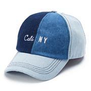 Women's SO® Mixed Denim 'Cali NY' Baseball Cap