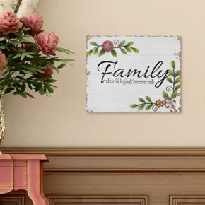 "Stratton Home Decor Floral ""Family"" Wall Decor"