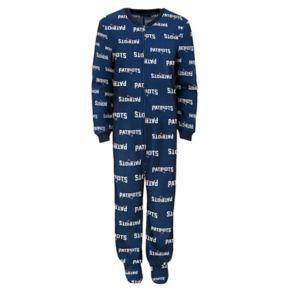 Boys 4-7 New EnglandPatriots One-Piece Fleece Pajamas