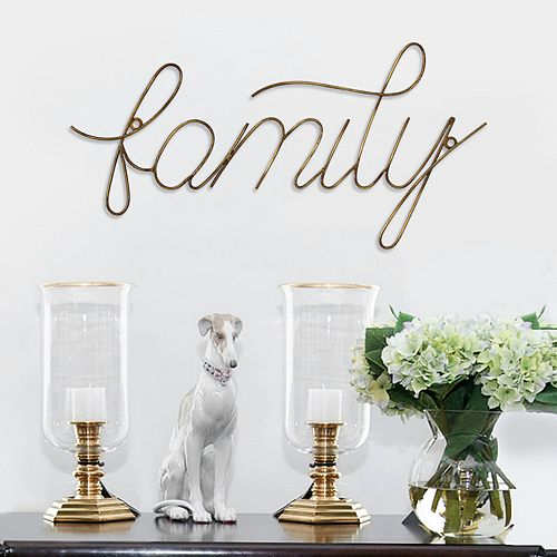 "Stratton Home Decor ""Family"" Wire Script Wall Decor"