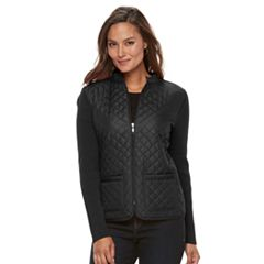 Women's Croft & Barrow® Quilted Zip Sweater Jacket