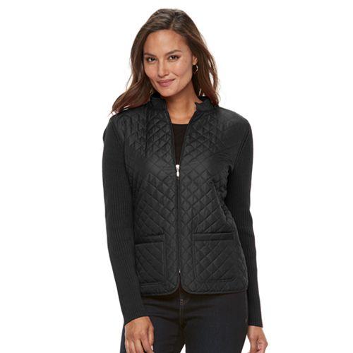 Women's Croft & Barrow® Quilted Zip Sweater Jacket