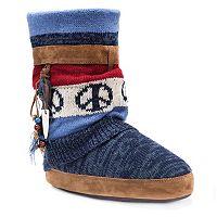 MUK LUKS Women's Riley Striped Boot Slippers