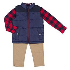 Baby Boy Little Lad 3 pc Quilted Vest, Shirt & Pants Set