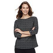 Women's Croft & Barrow® Ribbed Shoulder Boatneck Pullover Top