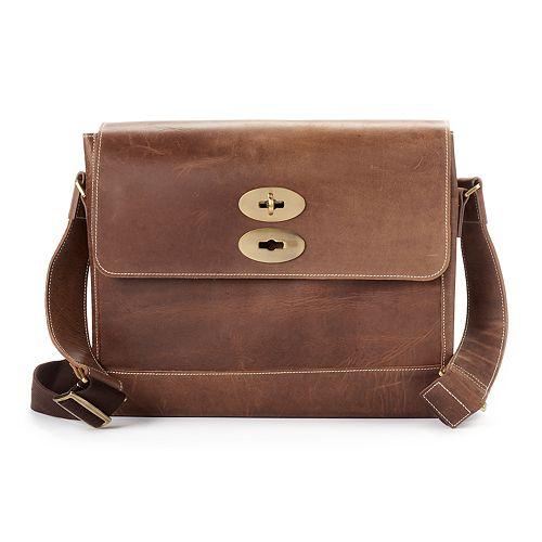AmeriLeather Distressed Leather Laptop Messenger Bag