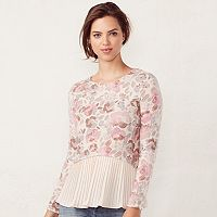 Women's LC Lauren Conrad Pleated Mock-Layer Top