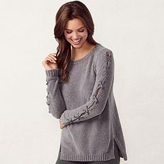 Women's LC Lauren Conrad Chenille Lace-Up Crewneck Sweater