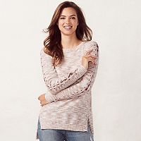 Women's LC Lauren Conrad Chenille Lace-Up Crewneck Sweater