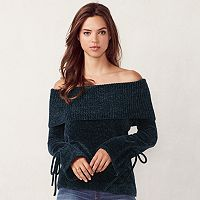 Women's LC Lauren Conrad Ribbed Off-the-Shoulder Chenille Sweater