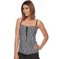 Women's Croft & Barrow® Tummy Slimmer Printed Flyaway Tankini Top