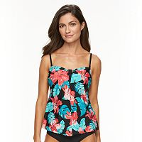 Women's Croft & Barrow® Tummy Slimmer Printed Flyaway Tankini Top