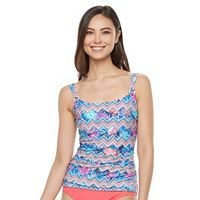 Women's Croft & Barrow® Tummy Slimmer Ruched D-Cup Tankini Top